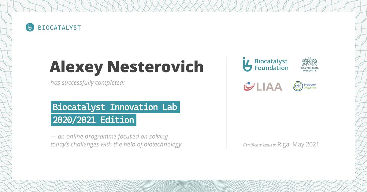Certificate for Alexey Nesterovich