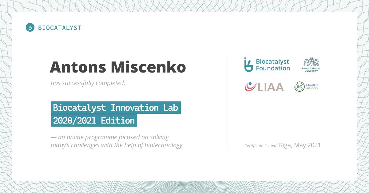 Certificate for Antons Miscenko