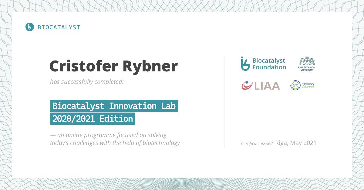 Certificate for Cristofer Rybner
