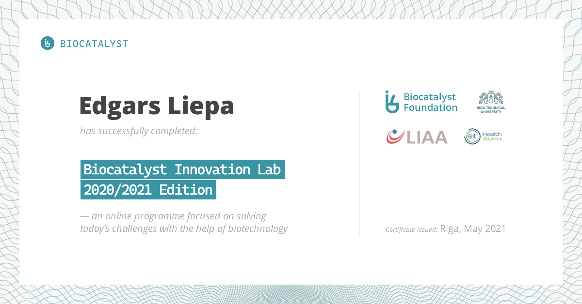 Certificate for Edgars Liepa
