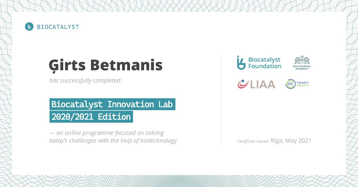 Certificate for Ģirts Betmanis