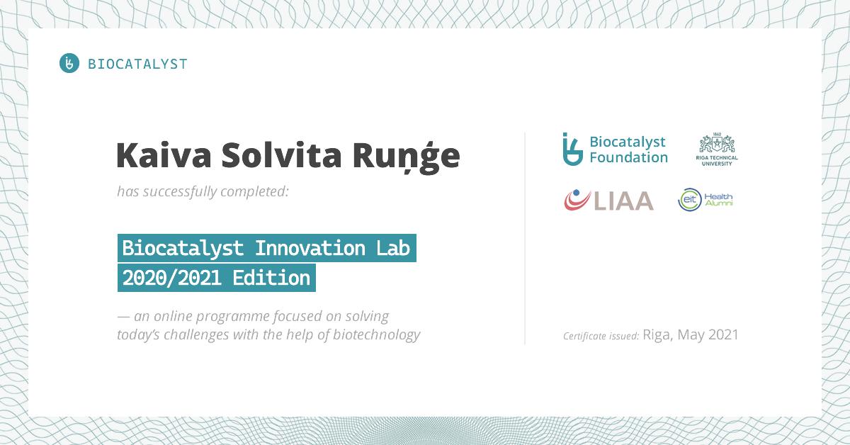 Certificate for Kaiva Solvita Ruņģe