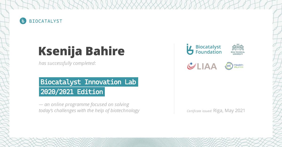 Certificate for Ksenija Bahire