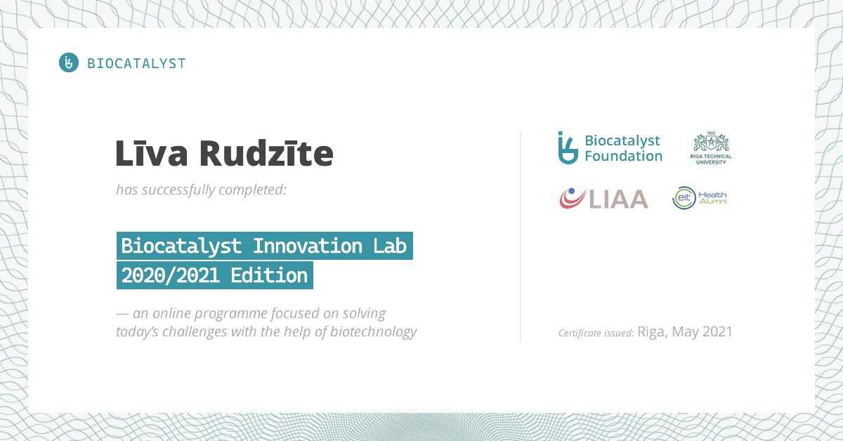 Certificate for Līva Rudzīte