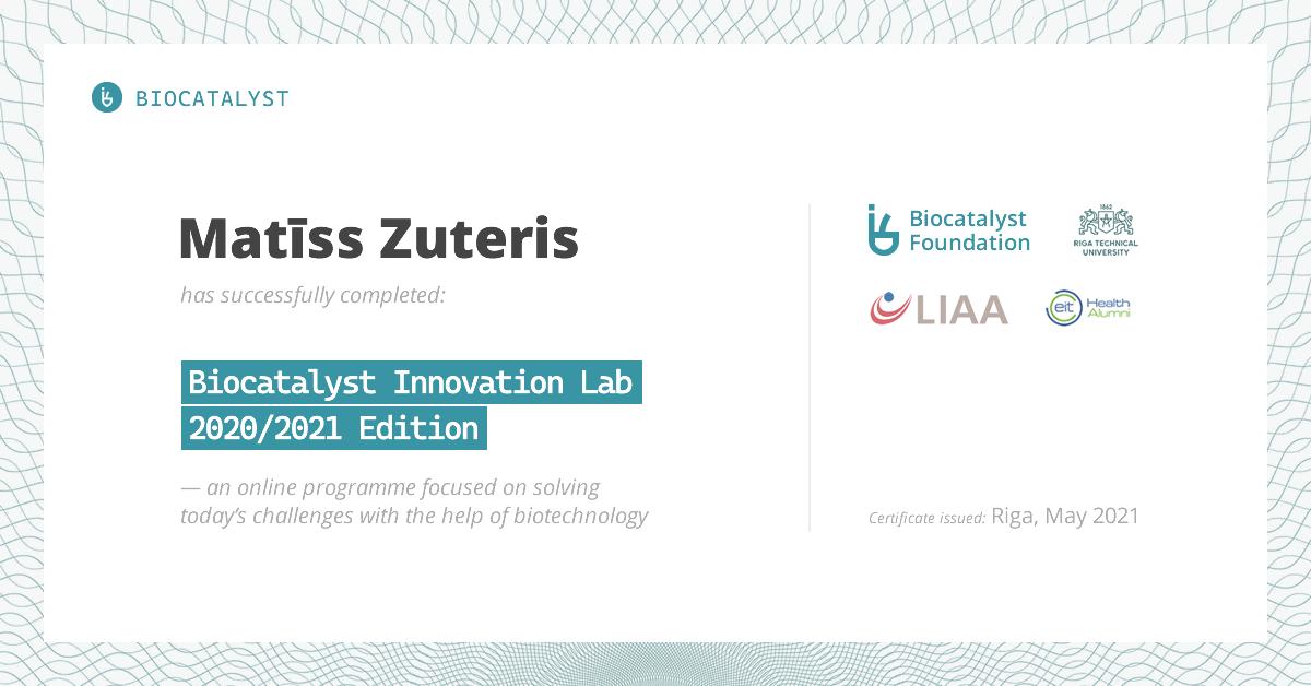 Certificate for Matīss Zuteris