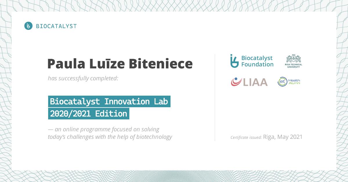 Certificate for Paula Luīze Biteniece