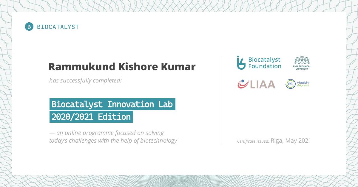 Certificate for Rammukund Kishorekumar