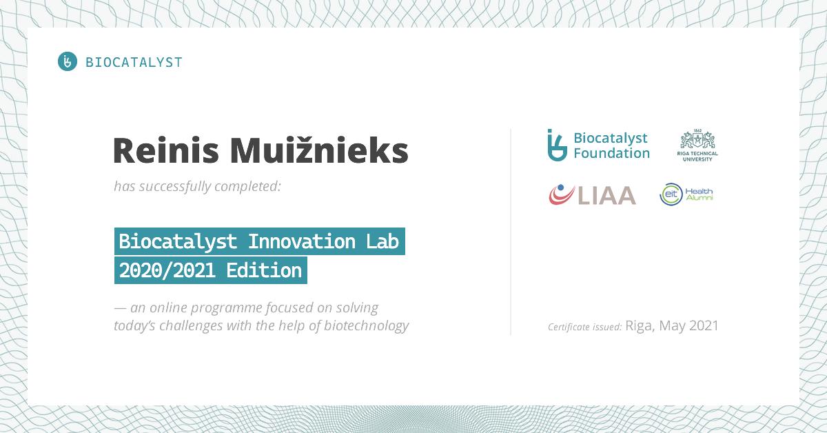Certificate for Reinis Muižnieks