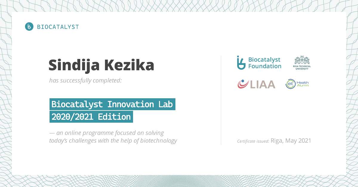 Certificate for Sindija Kezika