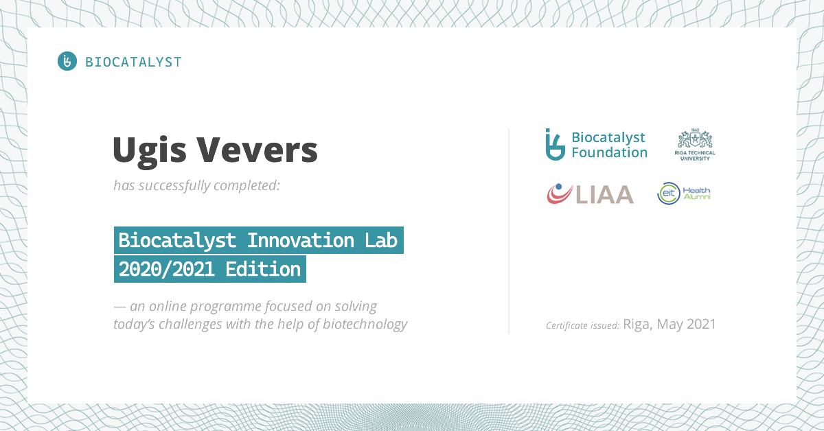 Certificate for Ugis Vevers